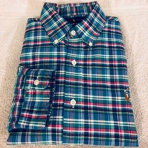Polo Ralph Lauren NEW Aqua Plaid Slim Fit Shirt L
